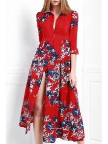 Stylish Turn Down Collar 3/4 Sleeve Floral Women's Maxi Dress