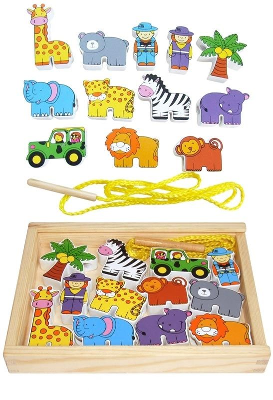 Machiko - a boutique for kids - Wooden Zoo Animal Lacing Blocks, $18.95 (http://www.machikobaby.com.au/products/wooden-zoo-animal-lacing-blocks.html)