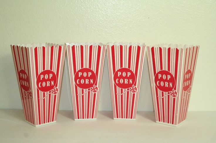 Popcorn containers movie theater style novelty reusable plastic set of 4 #Unbranded