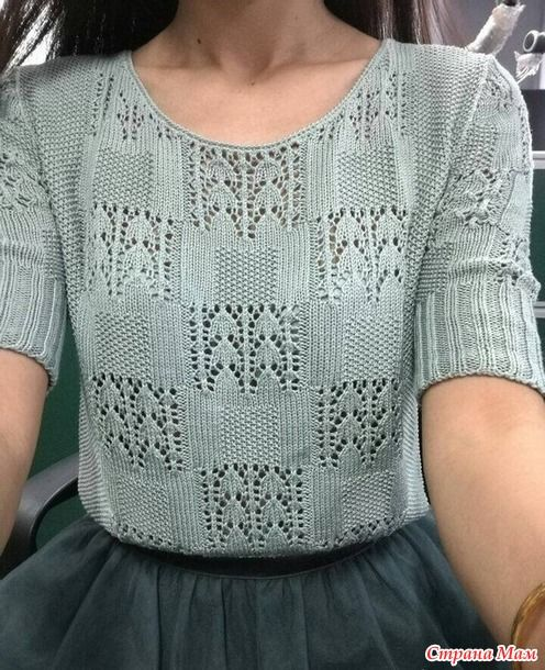 . Пуловер спицами из хлопка - Вязание - Страна Мам