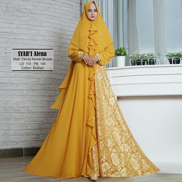 Gamis Dinda Ceruti Kombi Brokat Baju Muslim Murah Butik Jingga Baju Muslim Model Pakaian Muslim Gaya Hijab