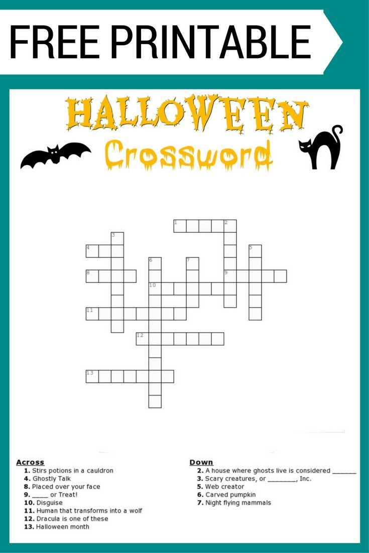 Best 25 halloween crossword puzzles ideas on pinterest free halloween crossword puzzle printable worksheet available both with and without a word bank biocorpaavc