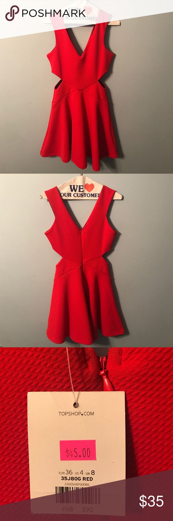 TOPSHOP red dress perfect for Valentine's day! A beautiful red flattering dress with two cut outs on either side of the dress. Originally $90 but bought on sale for $45. Never worn new with tags! Size US 4. Topshop Dresses