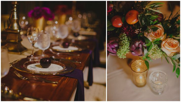 Gold rim charger plates with a purple napkin and plum place setting.