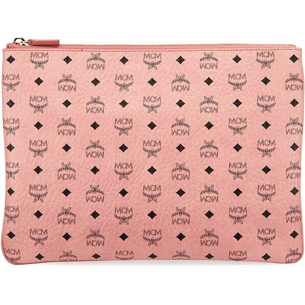 Mcm Color Visetos Logo-Print Pouch Bag ($365) ❤ liked on Polyvore featuring bags, handbags, clutches, soft pink, zipper handbags, pink pouch, mcm handbags, mcm purse and zipper pouch