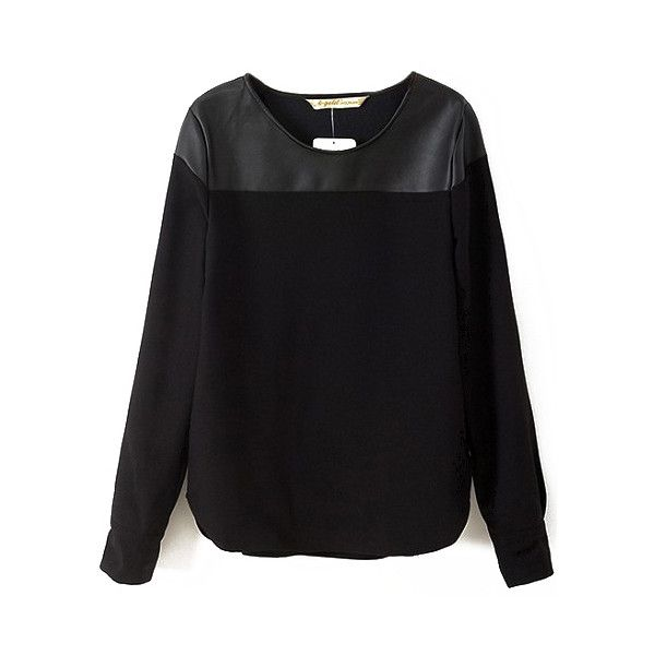 Contrast PU Black Blouse (£9.53) ❤ liked on Polyvore featuring tops, blouses, sheinside, sweaters, shirts, black, black long sleeve top, shirts & blouses, sleeve shirt and black slim fit shirt