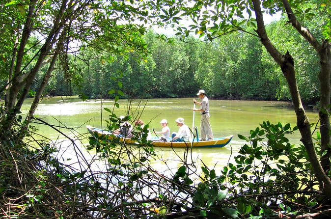 Mangrove and Guerrilla Base Day Trip Including Lunch Notable for its extensive mangrove forest, Can Gio is a low, palm-fringed island sitting at the mouth of the Saigon River, some 25km southeast of Ho Chi Minh City. It was formed from silt washing downstream from the river, so don't expect any white-sand beaches. A few hopeful resorts have sprung up along the murky 10km shoreline. Of more interest is the forest. This listed UNESCO Biosphere Reserve contains a high degree of b...