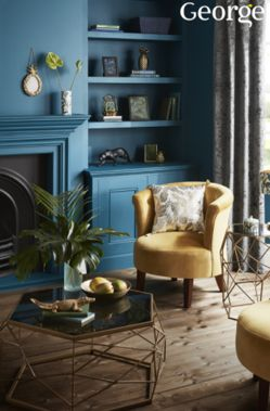 Bring a modern touch of paradise into your living space. Deep sea blues compliment mustard yellows whilst gold tones and tropical-themed accessories add a luxe finish.