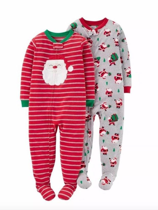 NWT Carters Just For You Fleece Santa Footed Winter Christmas Pajamas NEWBORN