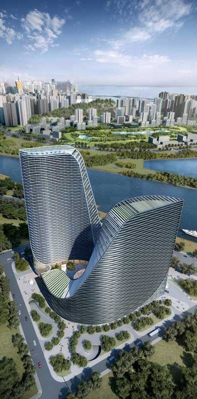 Huarong Hengqin Tower, Zhuhai, China by Atkins Architects ☮ || Weekly architecture inspiration for everyone! Introducing Moire Studios a thriving website and graphic design studio. Feel Free to Follow us @moirestudiosjkt for more amazing pins like this. Or visit our website www.moirestudiosjkt.com to know more about us. #architecture #houseArchitecture #modernArchitecture || ☮