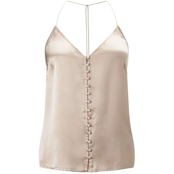 Miss Selfridge Mink Button Silk Cami Top ($35) ❤ liked on Polyvore featuring tops, cream, camisole tops, silk cami, cami tank tops, silk tops and silk tank