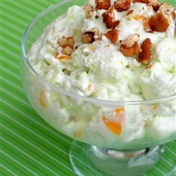 Pistachio Fluff Fruit Salad 1 (20 oz) can crushed pineapple w/ juice 1 (3 oz) package instant pistachio pudding mix 1 (12 oz) container frozen Cool Whip, thawed 2 large bananas, sliced 2 cups miniature marshmallows 1 (15.25 oz) can fruit cocktail, drained 1 (11 oz) can mandarin oranges, drained Directions Dump instant pudding into a large mixing bowl. Add pineapple, and mix well. Mix in nondairy whipped topping. Stir in other ingredients. Cover and chill.