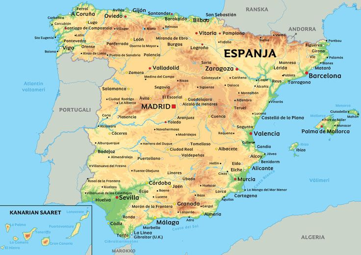 Kartta Espanjasta: kts. esim. kaupunkien sijainti kartasta