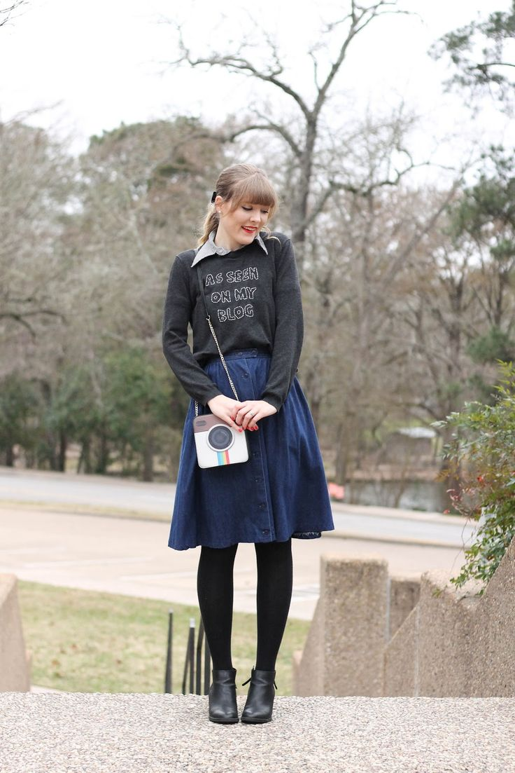 Skirt: Thrifted   Shirt: Vintage   Sweater: Thrifted + DIY   Tights: Old Navy   Shoes: Target   Purse: Meli...