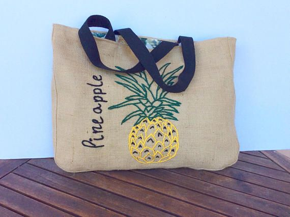 Pineapple embroidered  jute tote bag bohemian inspired