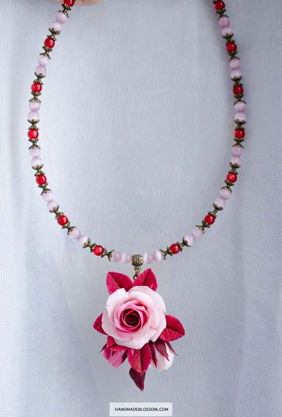 Dark red and pink necklace Burgundy roses pendant Cat eye