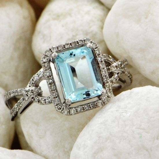 Aquamarine and Diamond Ring - Rings | Perrys Fine Antique & Estate Jewelry. My birthstone!