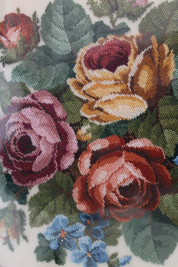 Beautiful Vintage Petit Point Shabby Chic Rose by poppyhillfarm, $59.00