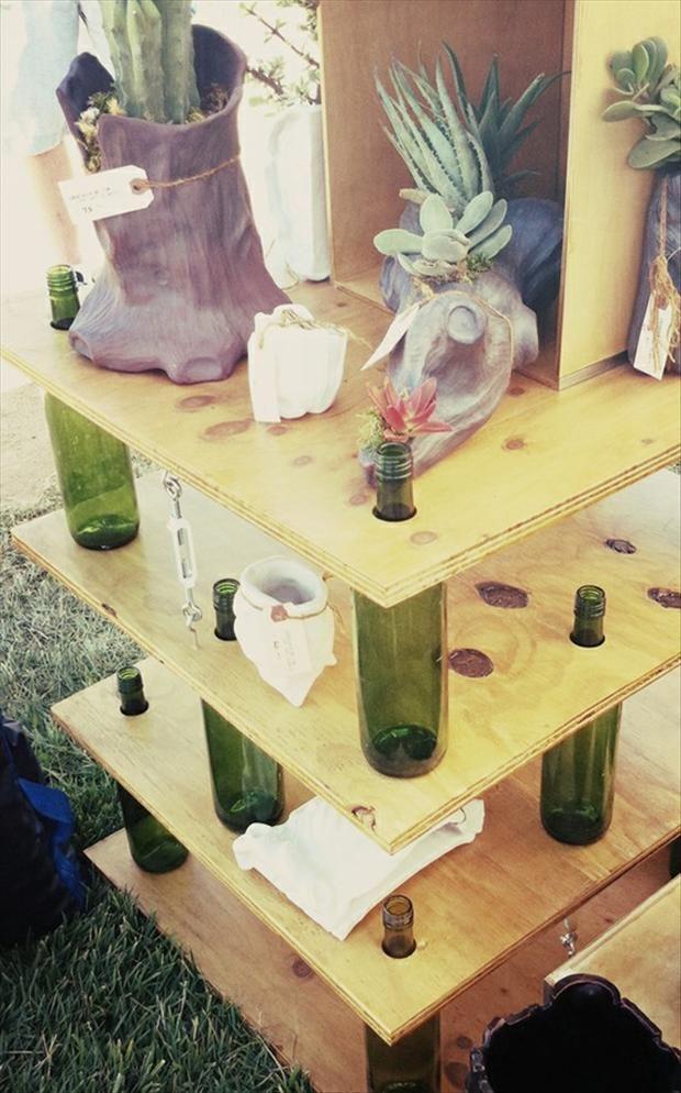 DIY Shelf Made With Wine Bottles