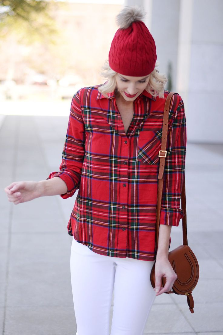 the perfect Christmas plaid, red flannel with white jeans and red beanie hat, Chloe mini Marcie bag