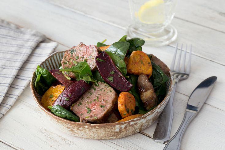 Warm Lamb & Roasted Root Vegetable Salad