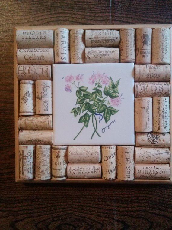 Wine Cork Trivet/Wall Art  Oregano by UNCORKEDbyFREDandPAM on Etsy, $28.00