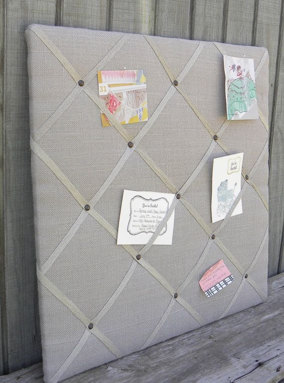 Upholstered french memo board Linen Pin Board by MyPerch on Etsy, $80.00                                                                                                                                                                                 More