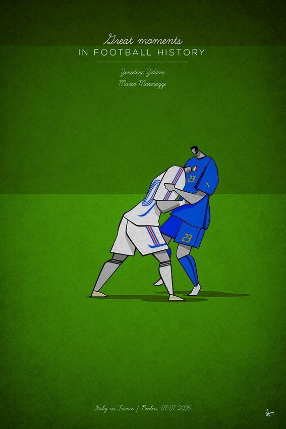 great moments in football history series illustration Zinedine Zidane Marco Matterazzi head-butt germany world cup 2006