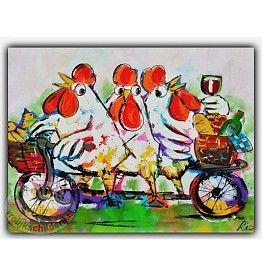 Vrolijk Schilderij Plexiglas luxe- Kippen op de fiets vanaf