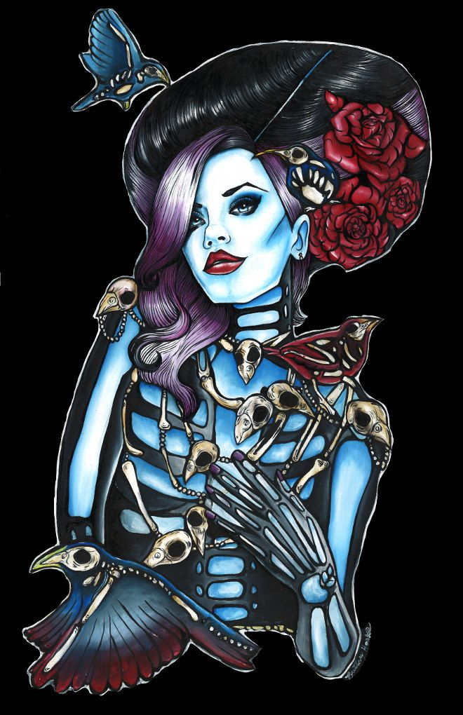 Gothic Pin Up Girls | Zombie Skeleton Pin Up girl tattoo art Day of the dead Print with Bird ...