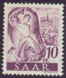 Germany, Saar, Saarland 1947, Arbeiter, 10 Pfg., Neuauflage, ohne Aufdruck, postfrisch Pracht, gepr, Hoffmann BPP (postfr., Mi.-Nr.228 II fA/Mi.EUR 400,--). Price Estimate (8/2016): 120 EUR.
