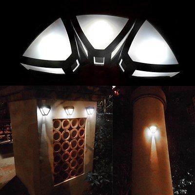 new outdoor solar powered wall mount led light garden path landscape fence lamp