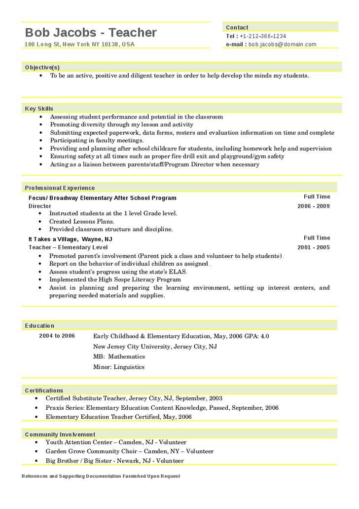 pics photos sample elementary teacher resume templates doc free. Resume Example. Resume CV Cover Letter