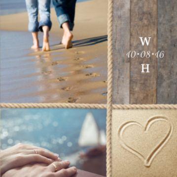 Stoere trouwkaart met thema strand. Trouwkaart met vier strandfoto's verdeeld door scheepstouw. Eigen foto's plaatsen is mogelijk.