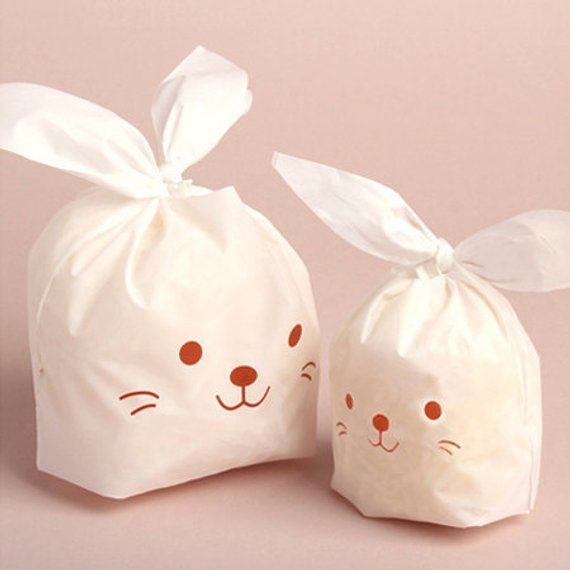 10 White Rabbit Plastic Bags Brown L Size 5 5 X 9in Kawaii