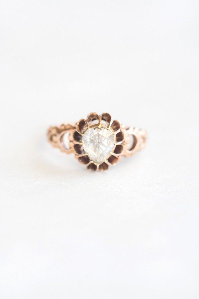 Antique Georgian Rosecut Diamond Ring - 18k rose gold