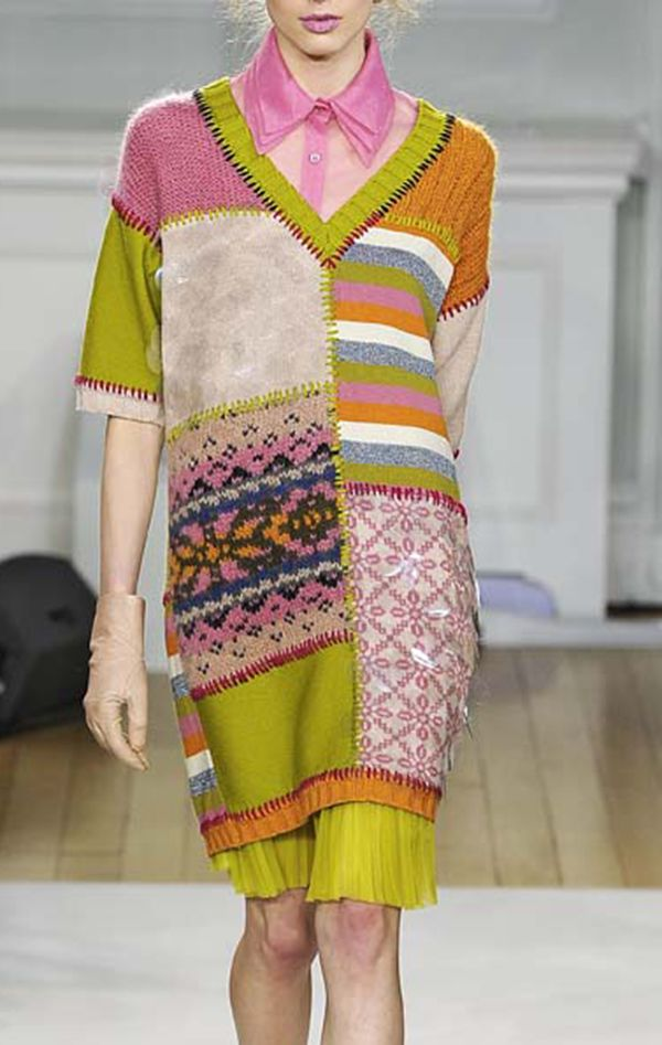 Via knit Grandeur: Moschino FW 2013. Interesting patchwork knitting. Recycled sweater or swatch inspiration.