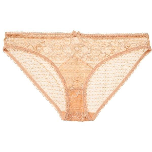 Stella McCartney Lingerie Women's Ophelia Whistling Bikini Brief -... ($39) ❤ liked on Polyvore featuring intimates, panties, brown, stella mccartney, scalloped bikini bottoms, swim bikini bottoms, brown bikini bottoms and brief bikini bottom