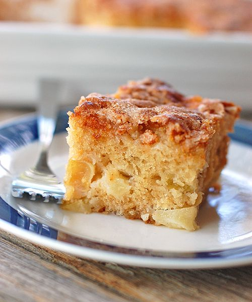Pinch of Yum's Cinnamon Sugar Apple Cake MADE THIS! Note: when using milk + yogurt mix 3:1. Add a Dash of cinnamon to the batter. Very delicious!