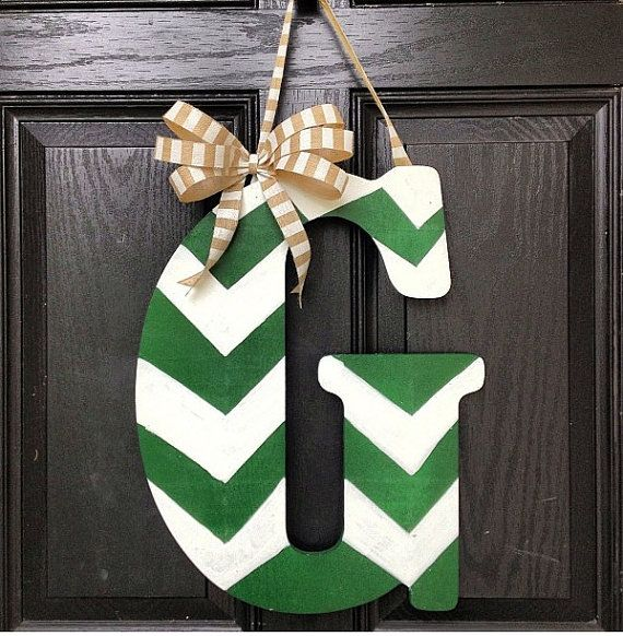 Chevron letter//Green and White//18 inch// by KilbiBranchDesigns