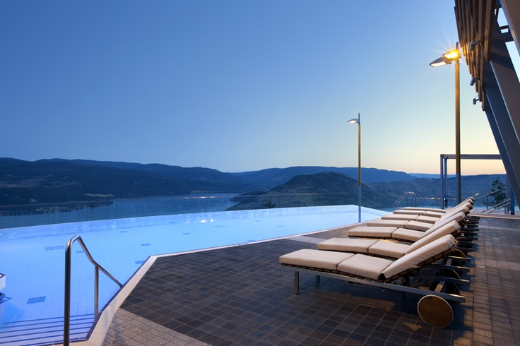 Take dip in the early evening for breathtaking views Vernon, BC, Canada from Sparkling Hill Resort and Spa's outdoor pool.
