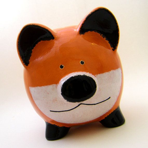#Fox Personalized Ceramic #PiggyBank by #ThePigPen, $42.50