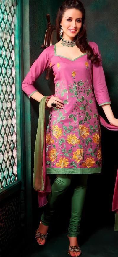 $32.15 Pink Cotton Embroidered Churidar Salwar Suit 26254