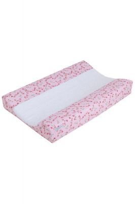 Schonbezug für Wickelauflage rosa Blume