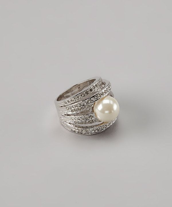 ICON Rhodium & Pearl Right-Hand Ring