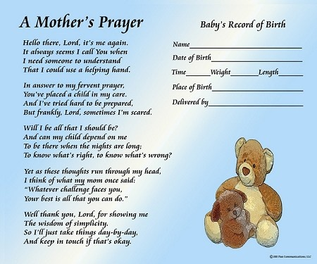 A Mother S Prayer Boy With Baby S Birth Information A
