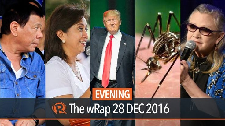 Duterte, SWS survey, Zika virus | Evening wRap - WATCH VIDEO HERE -> http://dutertenewstoday.com/duterte-sws-survey-zika-virus-evening-wrap/   Today on Rappler: – Duterte to spend New Year's Day in Manila – Robredo's satisfaction rating drops in new SWS survey – DOH: 52 Zika cases in PH – China shows off new aircraft carrier, jet before Trump takes office – Carrie Fisher dies Full video:...