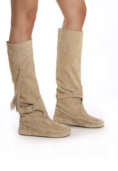 Steve Madden Camel Beige Tan Slouch Flat Stud Tassle Suede Moccasin Boots  BNIB | eBay