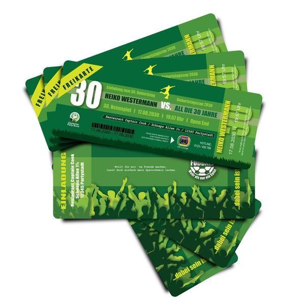 Einladungskarten - Einladung Fußball Ticket - Kartennummer 1907-1 - ein Designerstück von partyeinladungen_com bei DaWanda