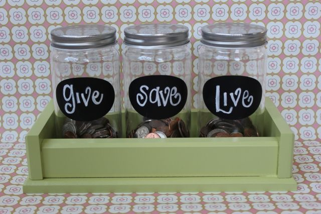Love these money saver jars to teach kids about giving/saving/spending.For Kids, Cute Ideas, Money Management, Money Savers, Piggies Banks, Savers Jars, Teaching Kids, Dave Ramsey, Money Jars